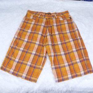 Pelle Pelle Orange Plaid Shorts